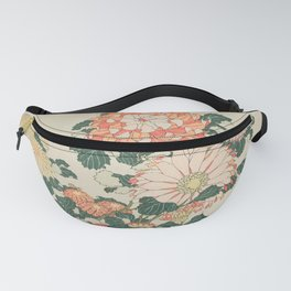 Chrysanthemums and Bee Japanese Woodblock Fanny Pack
