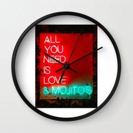 Love and mojitos Wall Clock