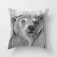 teddy bear Throw Pillows featuring Teddy Bear by Puddingshades