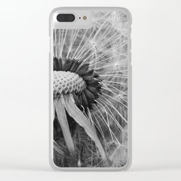 Dandelion Black and White Photography   Nature Art   Plant   Botanical   Wish Clear iPhone Case