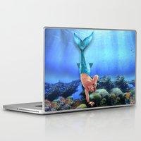 derek hale Laptop & iPad Skins featuring Merman Derek by Amy Mancini