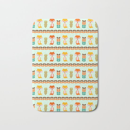 Foxes, grains and leaves Bath Mat