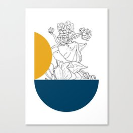 VESSEL - Floral Ink in Peacock & Mustard - Cooper and Colleen Canvas Print