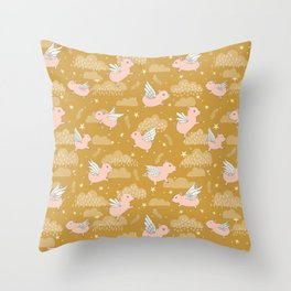When Pigs Fly in Gold Throw Pillow
