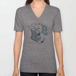 The Exploded Alphabet / B Unisex V-Neck