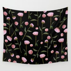 Peonies on Black Wall Tapestry