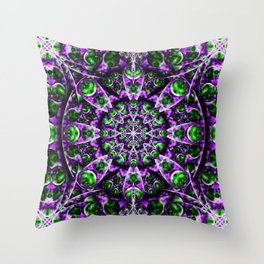 Amethyst Portal Mandala Throw Pillow