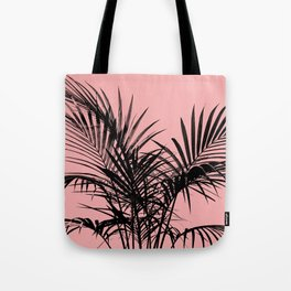 Little palm tree in black with peach Tote Bag