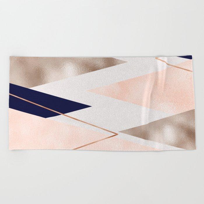 Rose Gold French Navy Geometric Beach Towel