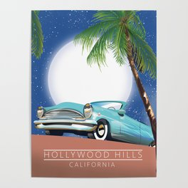 Hollywood Hills California travel poster, Poster