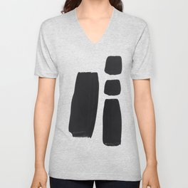 Black And White Minimalist Mid Century Abstract Ink Art Simple Brush Strokes Square Exclamation Mark Unisex V-Neck