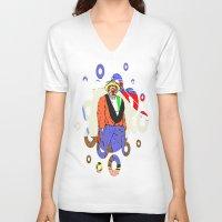 clown V-neck T-shirts featuring clown by Karl-Heinz Lüpke
