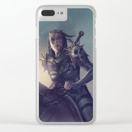 Roe sitting on a horse BLUE Clear iPhone Case