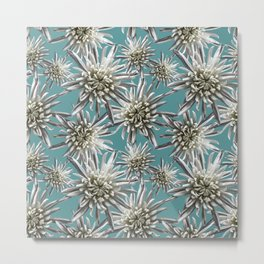 Mum Floral Pattern - Mum's the word - Auqa and White Floral Design - White Mum Flowers - I Love my M Metal Print