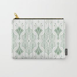 Lily Lake - Retro Floral Pattern Muted Green Carry-All Pouch