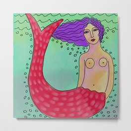 Mermaid with Red Tail Abstract Digital Painting  Metal Print