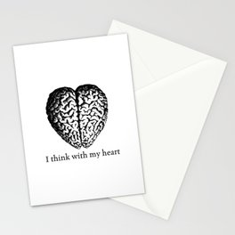 Black & White -  I think with my heart Stationery Cards