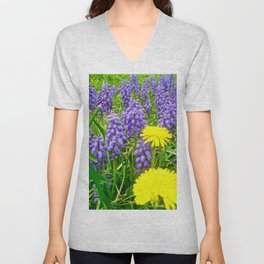 Field of Flowers, Dandelions and Bluebonnets Unisex V-Neck