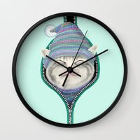 yetiland Wall Clocks featuring Cat in the zip by Tummeow