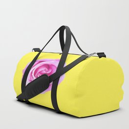 pink rose with yellow background Duffle Bag