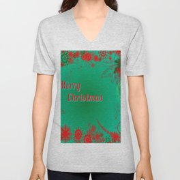 Merry Christmas in Green and Red Unisex V-Neck