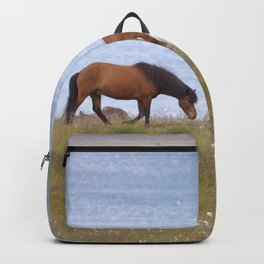 Watercolor Horse 06, Icelandic Pony, Shore of Eyjafjörður, Iceland, Following the Herd Backpack