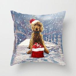 Christmas Golden Doodle Throw Pillow