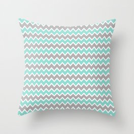 Aqua Turquoise Blue and Grey Gray Chevron Throw Pillow