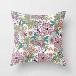 Stylish floral doodles vibrant design Throw Pillow