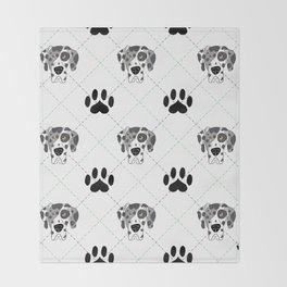 Merle Great Dane Paw Print Pattern Throw Blanket