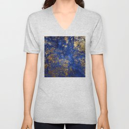 Blue Moon and Rose Gold Faux Marble Pattern Unisex V-Neck