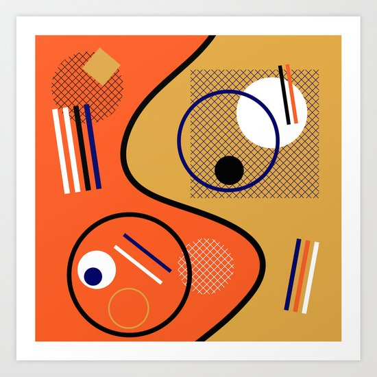 Opposing Sides - Abstract, orange and mustard, geometric, contrasting design Art Print
