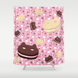 He left his family behind! Cookie Cat! Shower Curtain