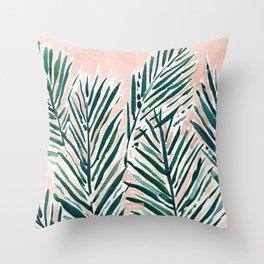 SUNSET PALMS Blush Tropical Print Throw Pillow
