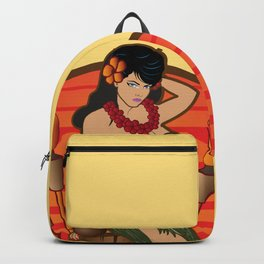 Beautiful Hula Girl Pau Hana Time with Tiki Backpack