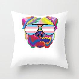 Gay Pride Transgender Psychedelic Pug Dog  design Throw Pillow