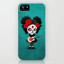 Day of the Dead Girl Playing Japanese Flag Guitar iPhone Case