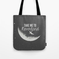 neverland Tote Bags featuring Neverland by Pink Berry Patterns