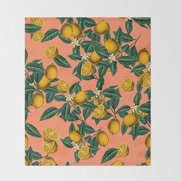 Lemon and Leaf Throw Blanket