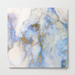 Gold And Blue Marble Metal Print