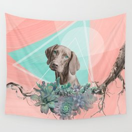 Eclectic Geometric Redbone Coonhound Dog Wall Tapestry