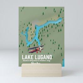 Lake Lugano Italy - Switzerland travel poster Mini Art Print