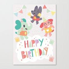 Happy Birthday Party Animals Canvas Print