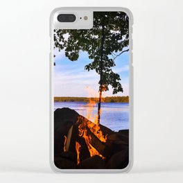 Campfire on Lake Pemaquid, Maine Clear iPhone Case