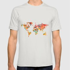 Geometric Map MEDIUM Mens Fitted Tee Silver
