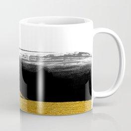 Black and Gold grunge stripes on clear white background - Stripe - Striped Coffee Mug