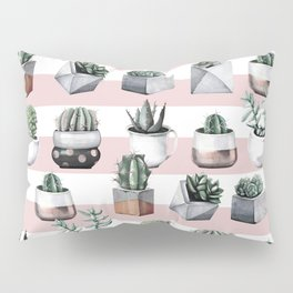 Potted Cactus Stripes Pink Rose Gold Pillow Sham