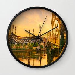 Pittsburgh Ballpark Riverview Sunrise Print Wall Clock