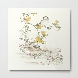 Birds and flowers - Japanese inspired watercolour Metal Print
