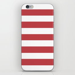 Watermelon red - solid color - white stripes pattern iPhone Skin